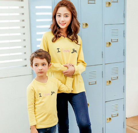 I Love You Long Sleeve Top in Mustard Yellow