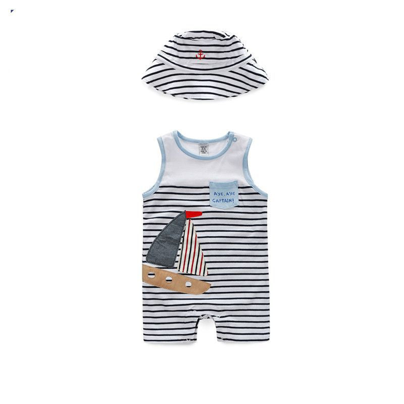 Yatch Romper and Hat 2pc Set