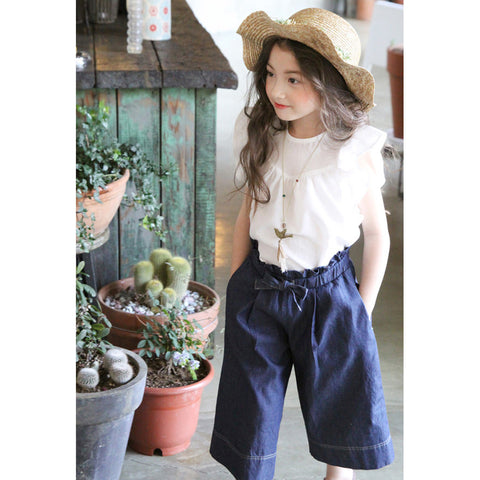 Navy Blue Soft Denim Culottes