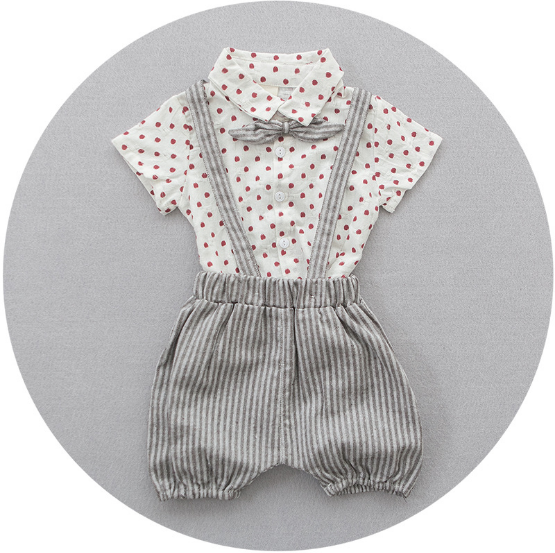 Polka Dots Suspender Pants 2 pc Set