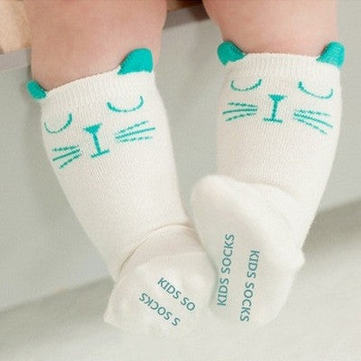 Kitty Knee Socks (Green)