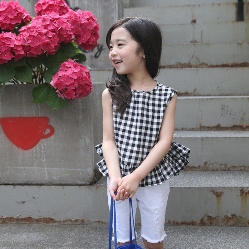 Checker Peplum Top