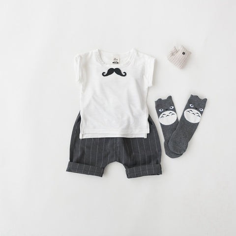 Mustache Tee and Stripes Pants 2 pc Set