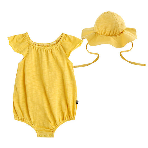 Mustard Yellow Romper with Hat