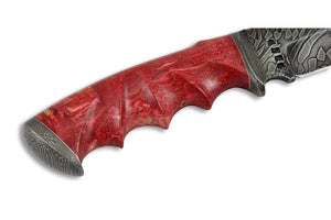 Voykar Red - custom Damascus knife by Olamic Cutlery, handle details