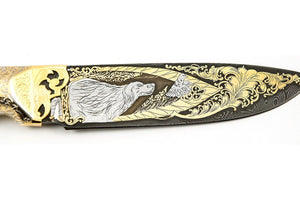 Setter - custom art knife from Rosarms, blade details, Setter.
