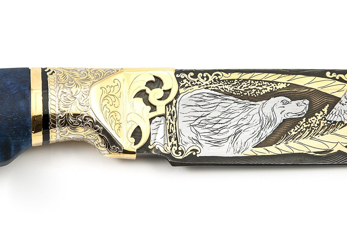 Setter - custom art knife from Rosarms, layers guard details
