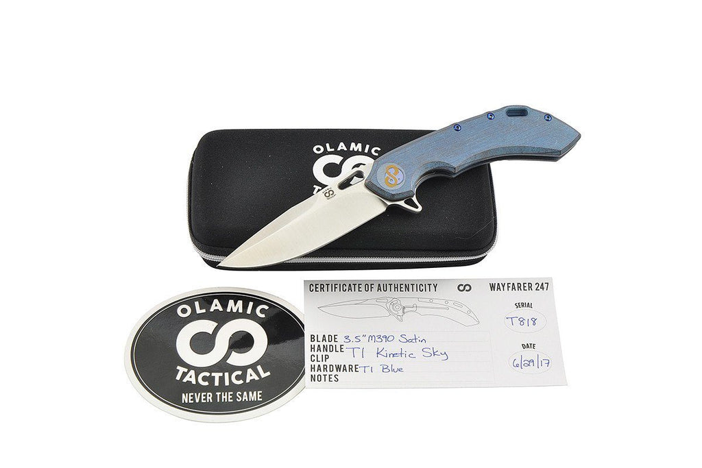 Wayfarer 247 Kinetic Sky custom folding knife from Olamic, all included