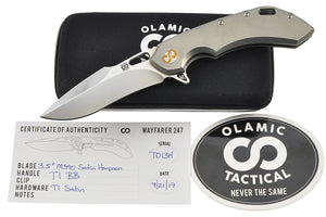 Wayfarer 247 Harpoon - custom folding knife by Olamic, all included