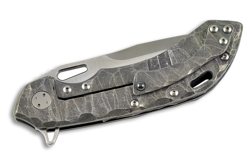 Wayfarer 247 - custom folding knife by Olamic tactical, beautiful seabed sculptured handle