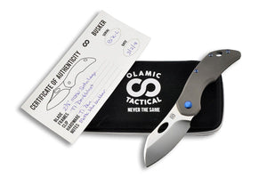 Busker Largo Satin - custom folding knife by Olamic Tactical all together,
