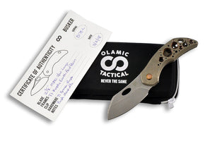 Busker Largo Kinetic Earth - custom folding knife by Olamic Tactical, all together