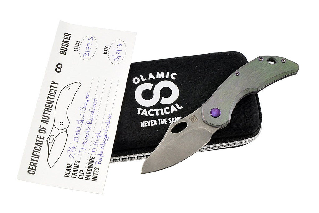 Busker Semper Rainforest custom folding knife by Olamic Tactical all together