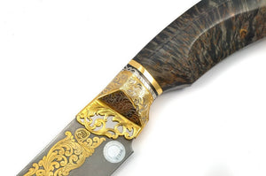 Rosarms Wolf custom knife with Damascus blade - blade and guard decoration