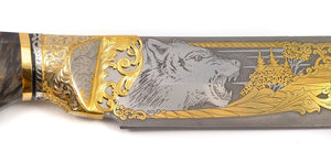 Rosarms Wolf custom knife with Damascus blade - blade decoration details