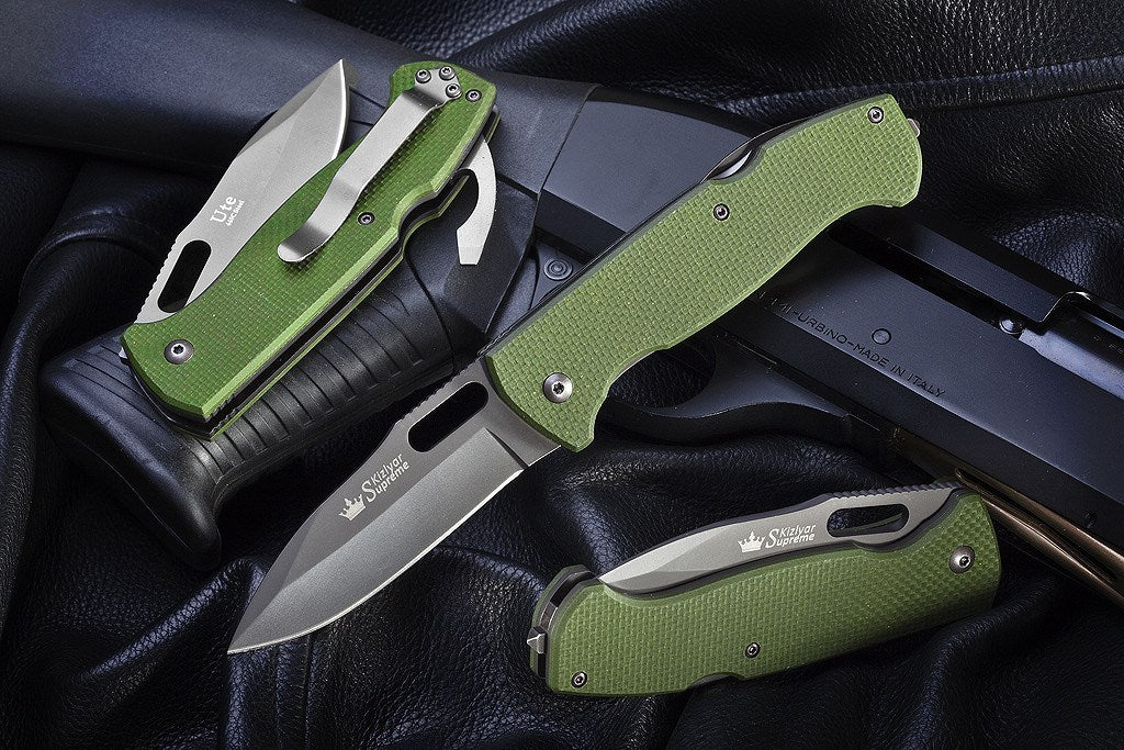 Ute EDC Folding Knife From Kizlyar Supreme In Various Positions