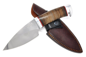 Knife with the leather sheath