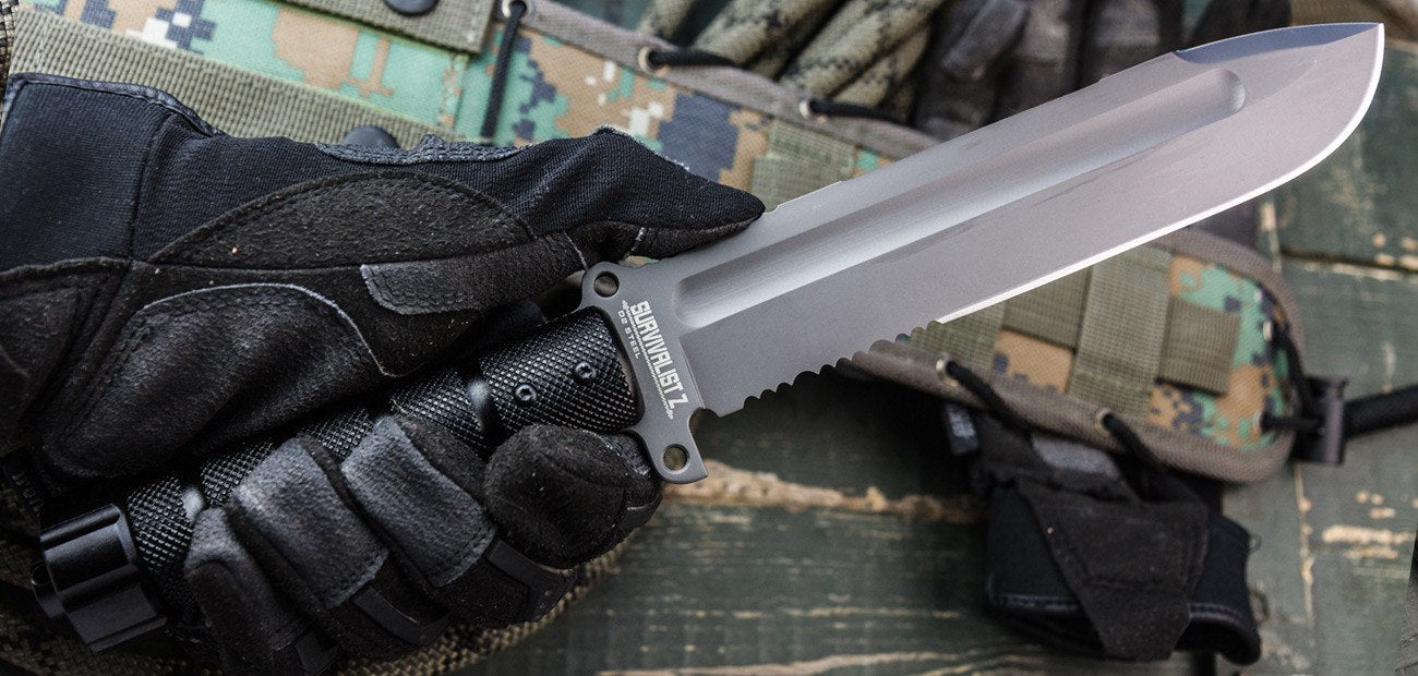 Survivalist Z D2 With Gray Ti Coating Knife From Kizlyar Supreme