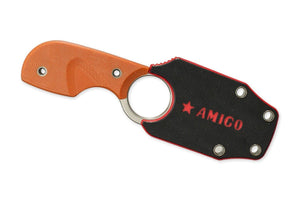 Amigo Z D2 orange G10 neck knife in the sheath