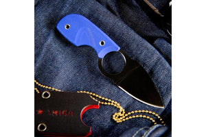 Amigo Z D2 Blue G10 neck knife black Ti coating