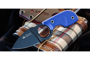 Amigo Z D2 Blue G10 neck knife view