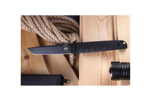 Badyuk Tanto knife with black D2 blade.