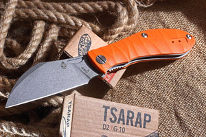 Tsarap Folder by Brutalica Knives with Orange G10