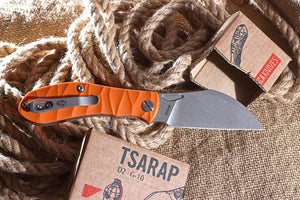 Tsarap Folder by Brutalica Knives, Orange handle