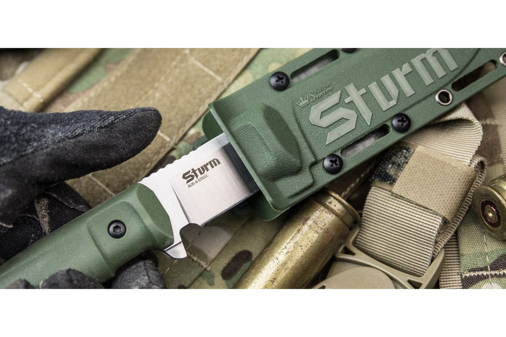 Sturm - tactical knife by Kizlyar Supreme, in the sheath, od green