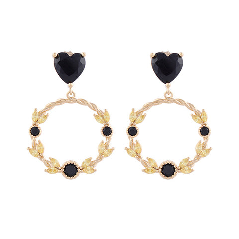 Flower Crown Heart Earring・AC03402