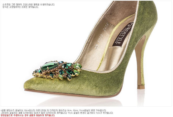 Angelina天鵝絨宴會鞋・RS161004(Green)