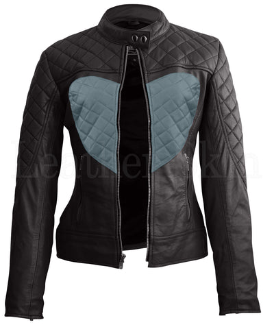 Black Gray Heart Leather Jacket