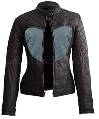 Black Gray Heart Leather Jacket - Pop Up Fashion Sale