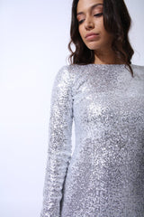 Amal Silver Glitter Sequin Maxi Dress - Pop Up Fashion Sale