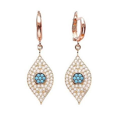 Crystal Evil Eye Huggie Drop Earrings