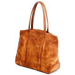 Dancing Bamboo Leather Tote - Chestnut - Women - Bags - Totes