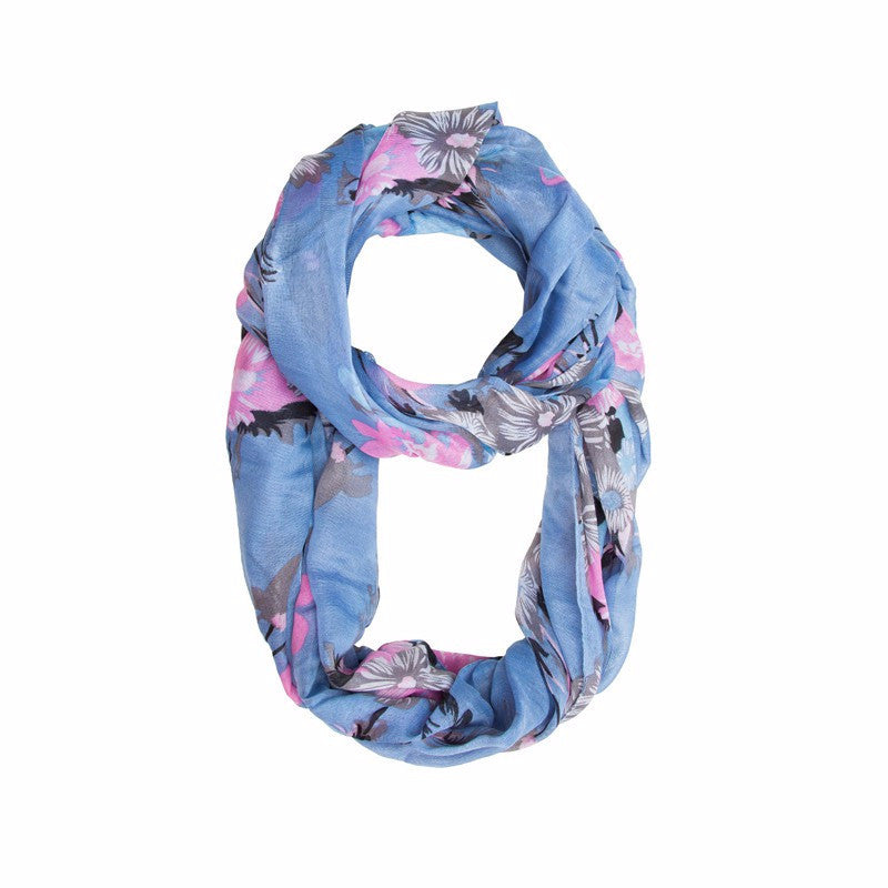Blue & Pink Flower Infinity Scarf - Pop Up Fashion Sale - 1