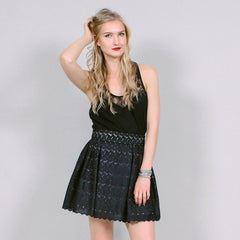 Black Pleated Lace Eyelet Skirt