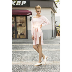 Cream marshmallow faux suede dress in Rose Petal Pink - Pop Up Fashion Sale - 5