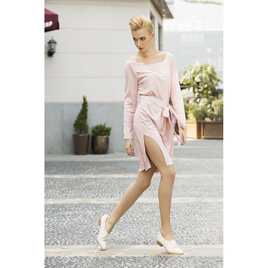 Cream marshmallow faux suede dress in Rose Petal Pink - Pop Up Fashion Sale - 1