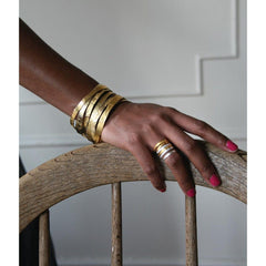 Hand Etched Gold Toned Bangles - set of 3 by Lingua Nigra - Pop Up Fashion Sale