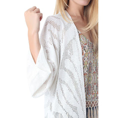 Crochet longline jacket with tassel trim hem by Q2 (Spain) - Pop Up Fashion Sale