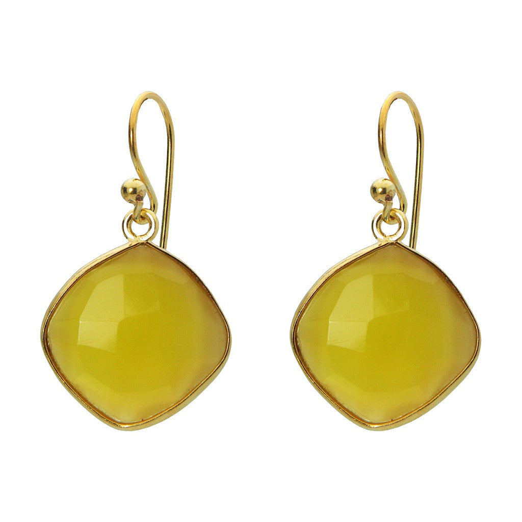 "18k Gold Plated Sterling Silver Small Square Yellow Citrine Stone Earrings, 1.19"" - Pop Up Fashion Sale"