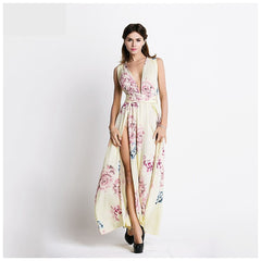 Beige Floral Print Maxi Dress - Pop Up Fashion Sale
