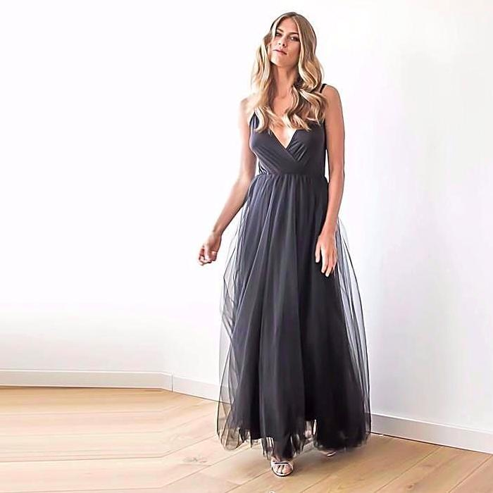 Black straps maxi tulle dress - Pop Up Fashion Sale - 1