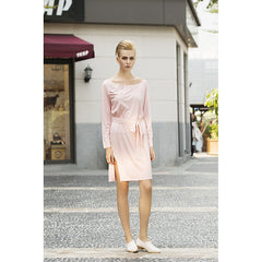 Cream marshmallow faux suede dress in Rose Petal Pink - Pop Up Fashion Sale - 2