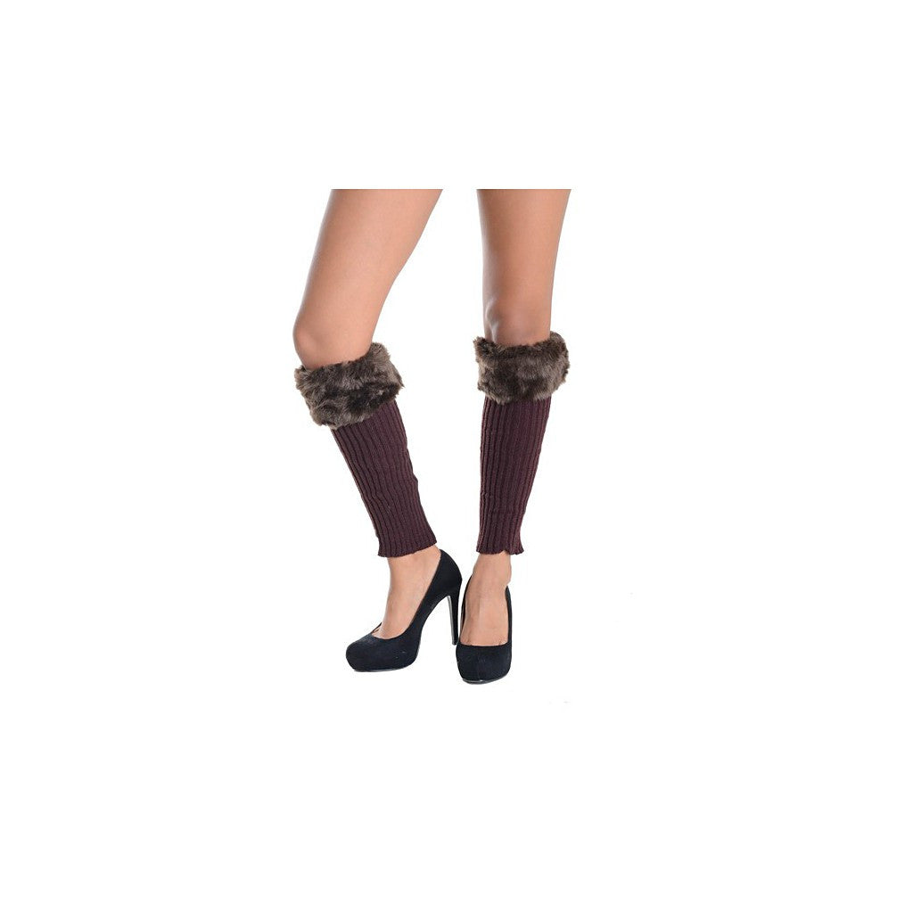 Brown Ribbed Knit Faux Fur Top Leg Warmers - Pop Up Fashion Sale