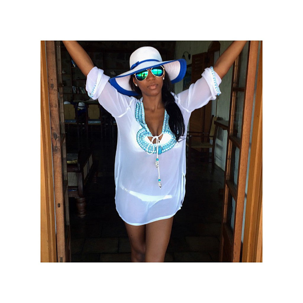 Beach Glam White & Blue Silk Kaftan