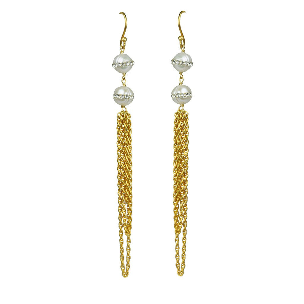 Double White Pearl Statement Earrings - Pop Up Fashion Sale - 1
