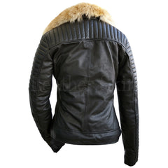 Black Womens Fox Fur Leather Jacket - Pop Up Fashion Sale